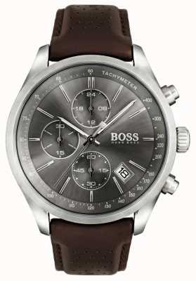 Boss Mens Grand-Prix-braunes Lederarmband Zifferblatt grau 1513476