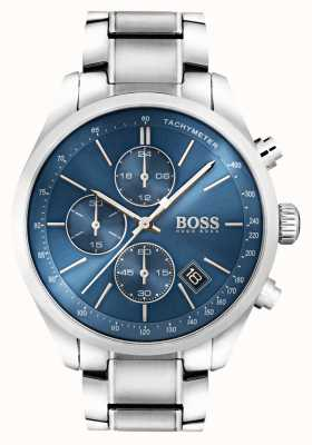Hugo Boss Mens Grand Prix Edelstahl blaues Zifferblatt 1513478