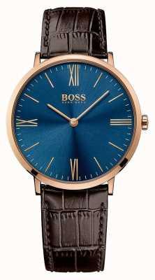 Hugo Boss Mens jackson braunes Lederarmband blaues Zifferblatt 1513458