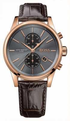 Hugo Boss Mens Jet braunes Lederband Zifferblatt grau 1513281