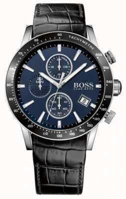 Boss Mens rafale schwarzes Lederband blaues Zifferblatt 1513391