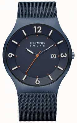 Bering Mens solar blau Milanese Mesh-Armband 14440-393