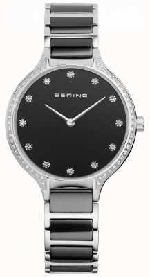 Bering Damen schwarze Keramik Zirkonia Set Uhr 30434-742
