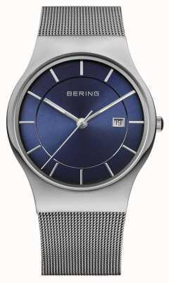 Bering Mens Milanese Mesh Strap blau Gesicht Uhr 11938-003