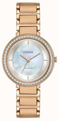 Citizen Womans Eco-Drive Silhouette Kristall Rotgold EM0483-54D