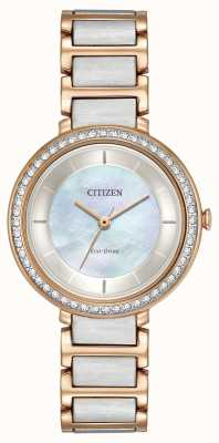 Citizen Womans Eco-Drive Silhouette Kristall mit zwei Tönen Rotgold EM0483-89D