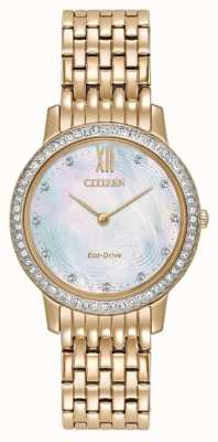 Citizen Womans Eco-Drive Silhouette Kristall Rotgold EX1483-50D