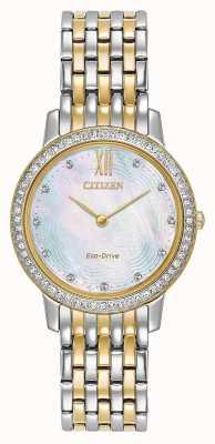 Citizen Damen Eco-Drive Silhouette Kristall | zweifarbiges Gold / Silber | EX1484-57D