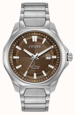 Citizen Mens Eco-Drive Super Titan braun Vorwahlknopfmattuhr AW1540-88X