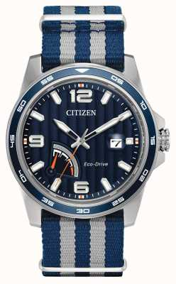 Citizen Mens Eco-Drive-Gangreserve blauen Stoff Uhr AW7038-04L