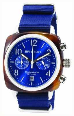 Briston Mens clubmaster klassische Acetat Chrono Schildkröte Schale blau 15140.SA.T.9.NNB