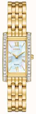Citizen Damen Bürger Silhouette Kristall Eco-Drive-gold PVD beschichtet EX1472-81D