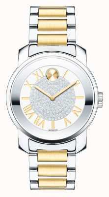 Movado Bold midsize luxe mit zwei Tönen Silber Gold k1 Kristall 3600256