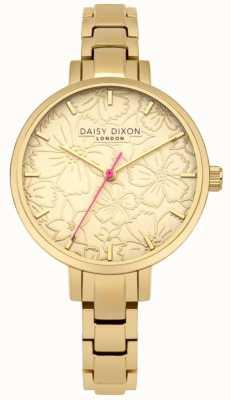 Daisy Dixon Womans leona Blumendruck-Zifferblatt Gold DD043GM