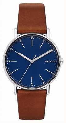 Skagen Herren-Unterschrift braunes Lederband blaues Zifferblatt SKW6355