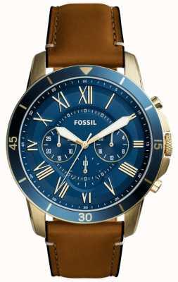 Fossil Mens Zuschuss tan Lederband blau Chronograph FS5268