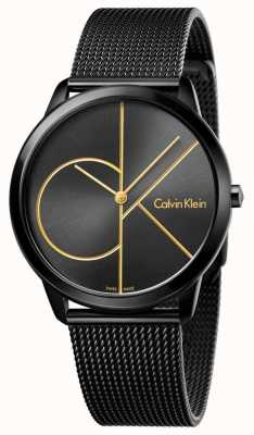 Calvin Klein Mens minimal schwarzes Edelstahlgewebe K3M214X1