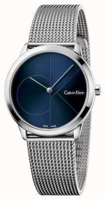 Calvin Klein Womans minimal Edelstahl Mesh blau Zifferblatt K3M2212N