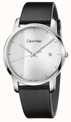 Calvin Klein Mens Stadt schwarzes Leder Zifferblatt silber K2G2G1CX