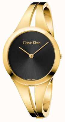 Calvin Klein Womans süchtig Gold getönten Armreif schwarz Zifferblatt K7W2M511