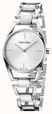 Calvin Klein Womans zierliche Edelstahl silbernes Zifferblatt K7L23146