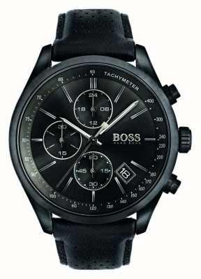 Hugo Boss Mens Grand Prix Chronograph schwarzes Lederband Zifferblatt schwarz 1513474