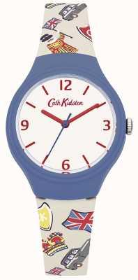 Cath Kidston Womans weißes britisches Grafiksilikonband CKL026CU