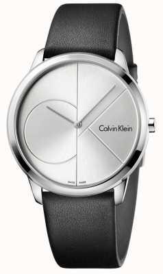 Calvin Klein Mens minimal schwarz Leder silber Uhr K3M211CY