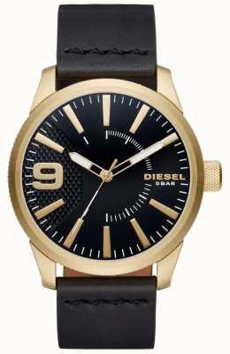 Diesel Mens Raspel schwarz und goldfarbenen Leder DZ1801