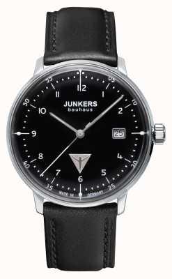Junkers Mens bauhaus schwarzes Lederband Zifferblatt schwarz 6046-2