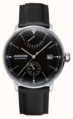 Junkers Mens bauhaus automatische schwarzes Lederband Zifferblatt schwarz 6060-2