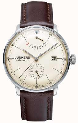Junkers Mens bauhaus automatische braunes Lederarmband beige Wahl 6060-5