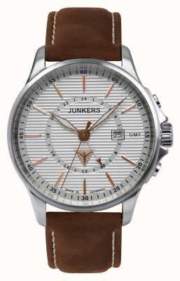 Junkers Mens tante ju braunes Lederarmband silbernes Zifferblatt 6842-4