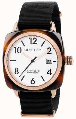 Briston Mens clubmaster classic schwarzes Stoffband weißes Zifferblatt 17240.PRA.T.2.NB