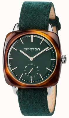 Briston Mens clubmaster vintage grünes Stoffband grünes Zifferblatt 17440.SA.TV.16.LFBG
