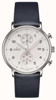 Junghans Form C Chronoskop Kalbsleder blauen Armband mit Zahlen 041/4775.00