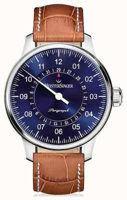 MeisterSinger Mens classic plus perigraph braunes Lederband blau Zifferblatt AM1008