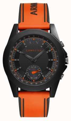 Armani Exchange Verbundene, intelligente Armbanduhr aus orangefarbenem Silikon AXT1003