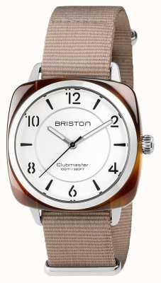 Briston Unisex Clubmaster schick beige Acetat Stahl mit NATO-Band 17536.SA.T.2.NT