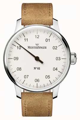 MeisterSinger Herren Nr. 1 klassische Handaufzug Sellita weiß AM3301