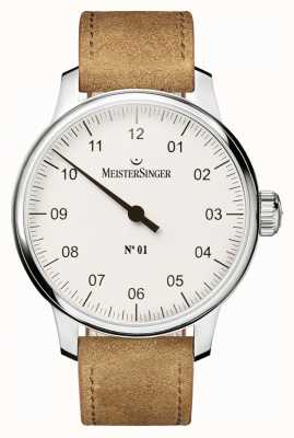 MeisterSinger Herren Nr. 1 klassische hand gewickelt sellita weiß AM3301
