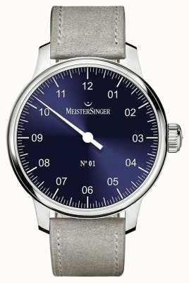 MeisterSinger Herren Klassiker Nr. 1 Handaufzug Sellita Sunburst blau AM3308
