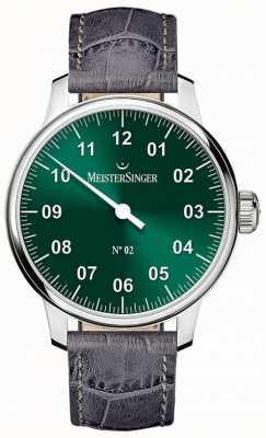 MeisterSinger Herren klassische Nr. 2 Hand gewickelt Sonnendurchbruch grün AM6609N