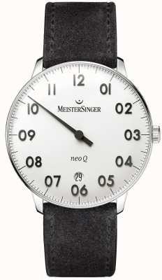 MeisterSinger Mens Form und Stil neo q Edelstahl und schwarz Wildleder NQ901N