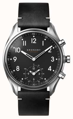 Kronaby 43mm Apex Bluetooth schwarz Lederarmband Smartwatch A1000-1399