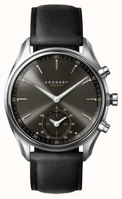 Kronaby 43mm secel bluetooth schwarzes Zifferblatt / Lederarmband Smartwatch A1000-0718