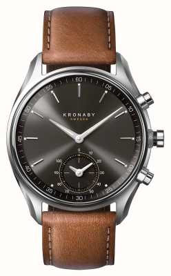 Kronaby 43mm sekel bluetooth braunes Leder schwarzes Zifferblatt Smartwatch A1000-0719