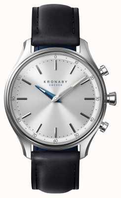 Kronaby 38mm secel bluetooth schwarzes lederarmband smartwatch A1000-0657