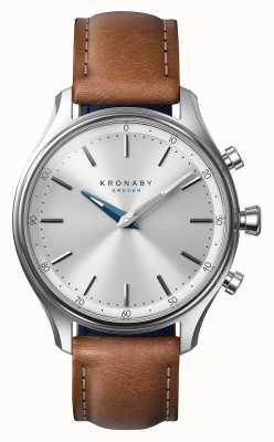 Kronaby 38mm Sekel Edelstahl braun Lederarmband Smartwatch A1000-0658