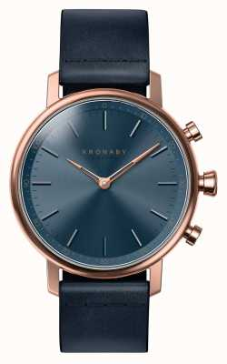 Kronaby 38 mm Karat Bluetooth Rotgold blau Leder Smartwatch A1000-0669